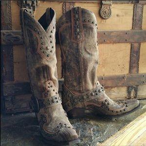NEW Lane Brand Cowboy Boots Studs Size 9
